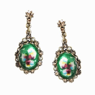 Sweet Romance Green Vintage Enamel Oval Fashion Earrings