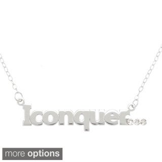 "Amanda Marmer Sterling Silver Inspirational Words ""I Conquer"" Diamond Accent Necklace"