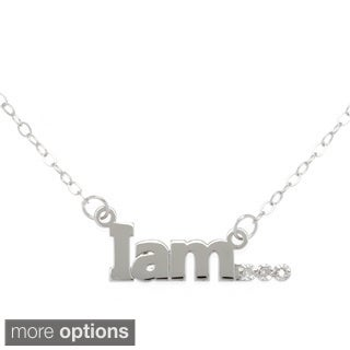 "Amanda Marmer Sterling Silver Inspirational Words ""I am"" Diamond Accent Necklace"