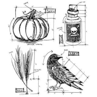 Tim Holtz Cling Rubber Stamp Set 7 X8.5  - Halloween Blueprints #2