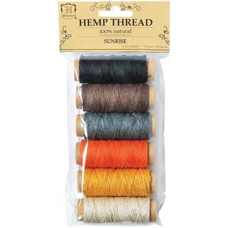 Hemp Thread 2 Ply 6 Mini Spools/Pkg - Sunrise