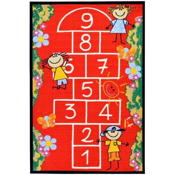 Ottomanson Red Children's Playground Design Area Rug (5' x 6'6)