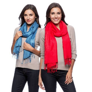 Saachi Women's Set of 2 Handmade Jacquard Scarves (India)