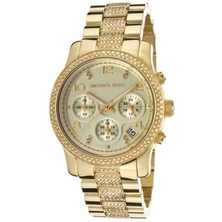 Michael Kors Women's MK5826 'Runway' Chronograph Goldtone Stainless Steel Watch
