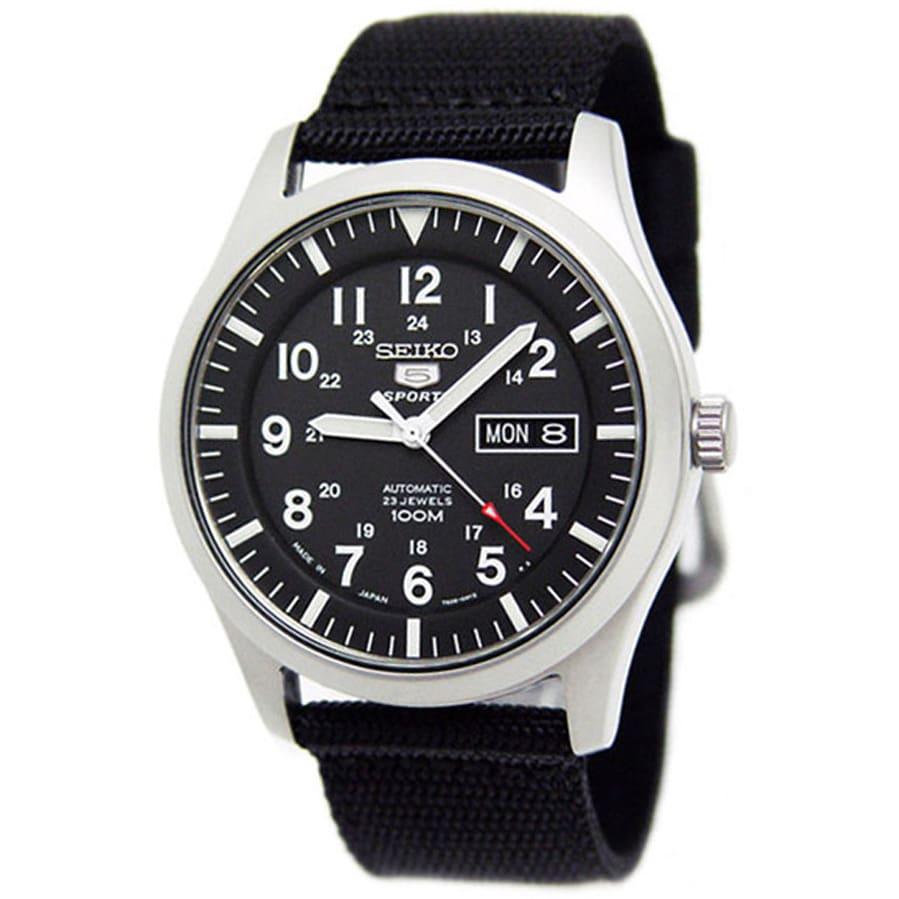 Seiko Men's 5 Sports Black Nylon Strap Watch (Black dial)...
