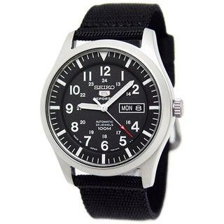 Seiko Men's 5 Sports Black Nylon Strap Watch