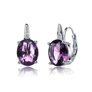 Collette Z Sterling Silver Purple Oval-shape Cubic Zirconia Earrings