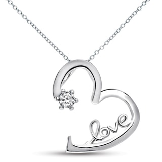 Collette Z Sterling Silver White Cubic Zirconia Heart 'LOVE' Necklace