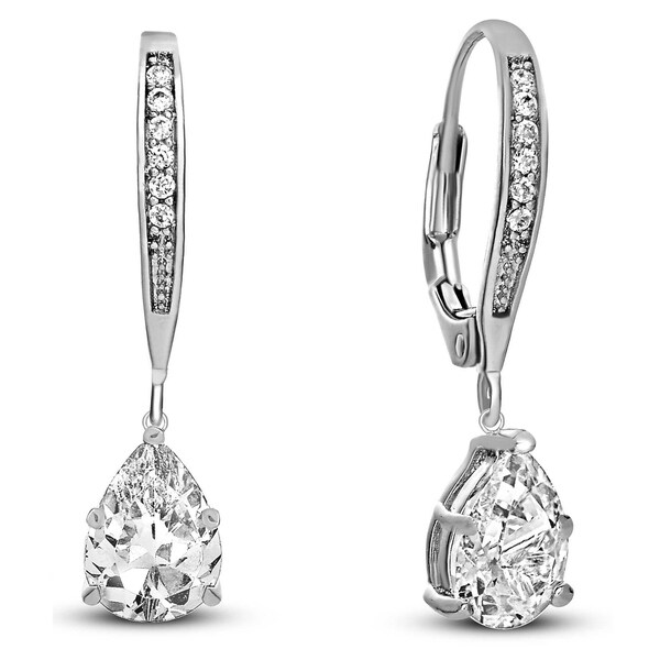Collette Z Sterling Silver Cubic Zirconia Pear-shape Dangling Earrings