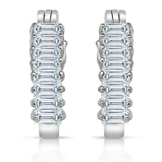 Collette Z Sterling Silver White Cubic Zirconia Hoop Earrings
