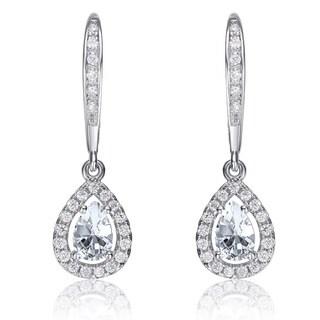 Collette Z Sterling Silver White Cubic Zirconia Pear-shape Dangling Earrings