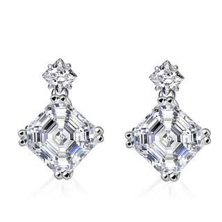 Collette Z Sterling Silver White Cubic Zirconia Square Asscher-cut Drop Earrings