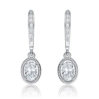Collette Z Sterling Silver White Cubic Zirconia Oval Dangling Earrings