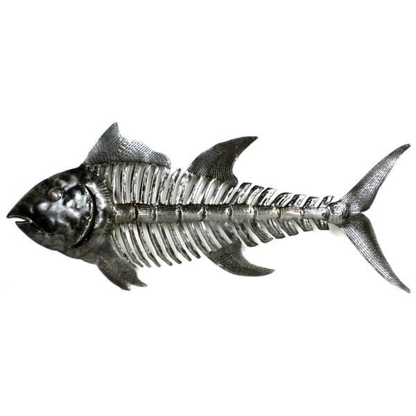 Metal Wall Art Fish handcrafted fish bones metal wall art , handmade in haiti - free