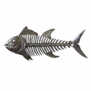 Handcrafted Fish Bones Metal Wall Art  , Handmade in Haiti