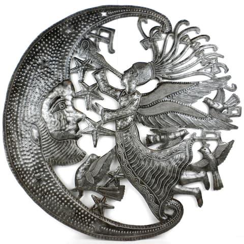 Handmade Angel and Moon Metal Wall Art (Haiti)