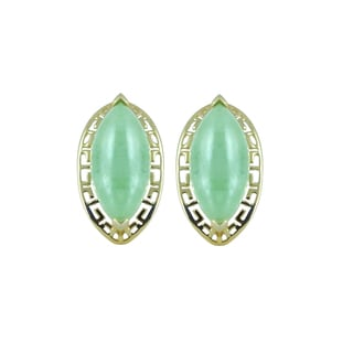 Gems For You 10k Yellow Gold Oval Jade Stud Earrings