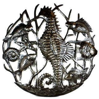 Handcrafted Seahorse and Fish Metal Art , Handmade in Haiti
