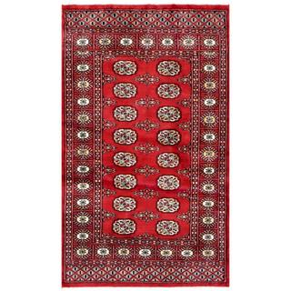 Herat Oriental Pakistani Hand-knotted Bokhara Red/ Ivory Wool Rug (3'1 x 4'11)