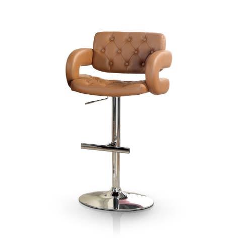 Furniture of America Vardara Tufted Height Adjustable Swivel Barstool