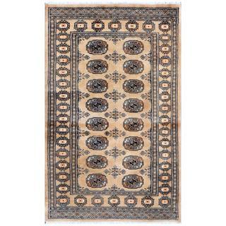 Herat Oriental Pakistani Hand-knotted Bokhara Beige/ Black Wool Rug (3'2 x 5')