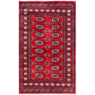 Herat Oriental Pakistani Hand-knotted Bokhara Red/ Ivory Wool Rug (3'2 x 4'11)