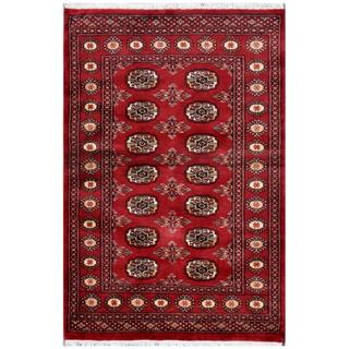 Herat Oriental Pakistani Hand-knotted Bokhara Red/ Ivory Wool Rug (3' x 4'6)