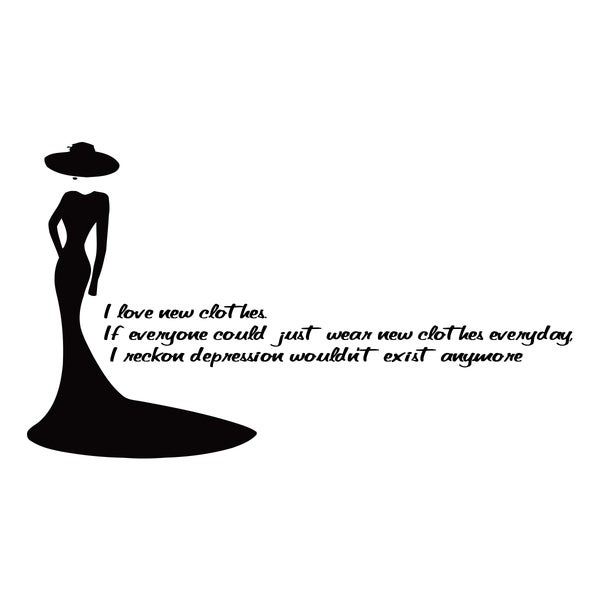 Shop Fashion Quote 'I Love New...' Black Vinyl Wall Decal ...