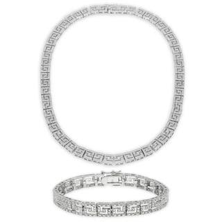 Finesque 1/4ct TDW Diamond Greek Key Necklace with Bonus Bracelet|https://ak1.ostkcdn.com/images/products/8869171/P16094965.jpg?impolicy=medium