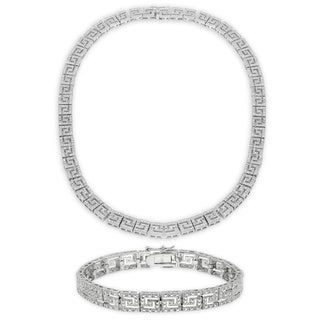 Finesque 1/4ct TDW Diamond Greek Key Necklace with Bonus Bracelet