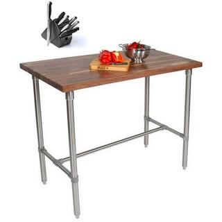 John Boos WAL-CUCKNB430 Walnut Cucina Americana Classico 48 x 30 x 36 Table and Henckels 13-piece Knife Block Set