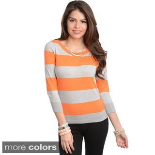 Stanzino Women's Striped Long Sleeve Cotton Top