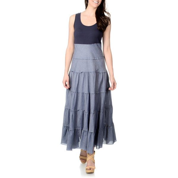 Shop Chelsea Theodore Women S Two Tone Blue Chambray Tiered Maxi