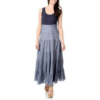 Chelsea & Theodore Women's Two-tone Blue Chambray Tiered Maxi Dress