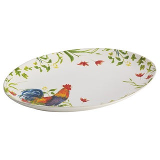 BonJour Dinnerware Meadow Rooster Stoneware 9 3/4 x 14-inch Print Oval Platter