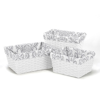 Sweet Jojo Designs Grey Damask Basket Liners (Set of 3)