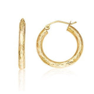 Gioelli Gioelle 14K Yellow Gold Diamond-cut Hoop Earrings