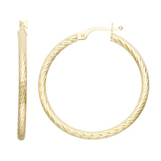 Gioelli 14k Yellow Gold Diamond-cut Hoop Earrings