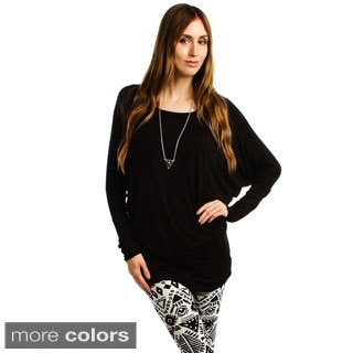 Lyss Loo Women's Comfortable and Stylish Boatneck Dolman-sleeve Top