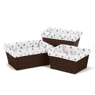 Sweet Jojo Designs Nautical Nights Sail Boat Basket Liners (Set of 3)