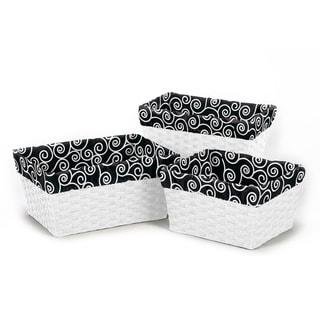 Sweet Jojo Designs Basket Liners in Black/ White Swirl (Set of 3)