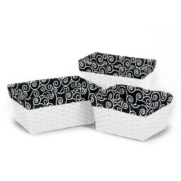 Sweet Jojo Designs Basket Liners in Black/ White Swirl (Set of 3)