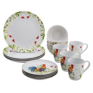BonJour Dinnerware Meadow Rooster 16-piece Stoneware Set