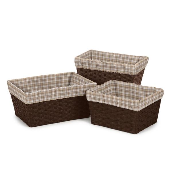 Sweet Jojo Designs Brown Plaid Basket Liners (Set of 3)