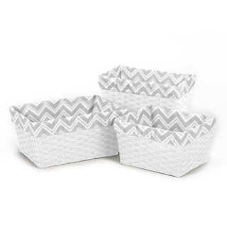 Sweet Jojo Designs Grey Chevron Basket Liners (Set of 3)