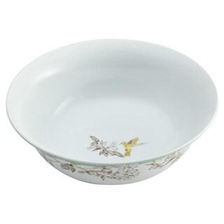 BonJour Dinnerware Fruitful Nectar Porcelain 10-inch Print Round Serving Bowl
