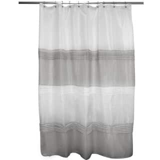 gray and white striped shower curtain. Pleated Grey  Ivory Stripe Shower Curtain Curtains For Less Overstock com Vibrant