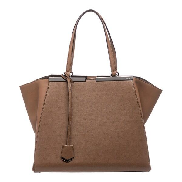 Fendi '3Jours' Tan Leather Shopping Tote