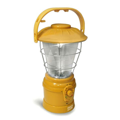 PYLE PSDNL22YL Multi Function Hand Crank LED Lantern with AM/FM Radio & Built In Rechargeable Battery (Yellow) - Yellow
