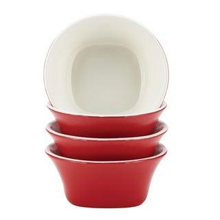 Rachael Ray Dinnerware 'Round & Square' 4-piece Red Stoneware Fruit Bowl Set